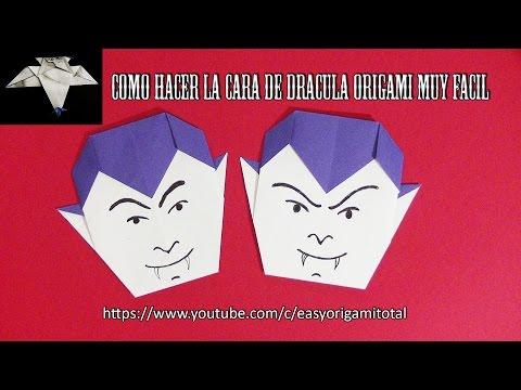 Como hacer la cara de Dracula origami muy facil