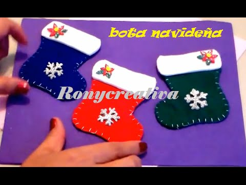Navidad como hacer botas navide as adorno o porta for Como hacer decoraciones navidenas