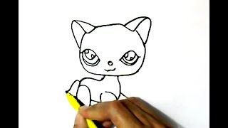 How to draw LPS Littlest Pet Shop CAT in  easy steps for children, kids, beginners