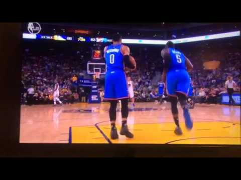Russell Westbrook Traveling vs Golden State Warriors 1/18/2017
