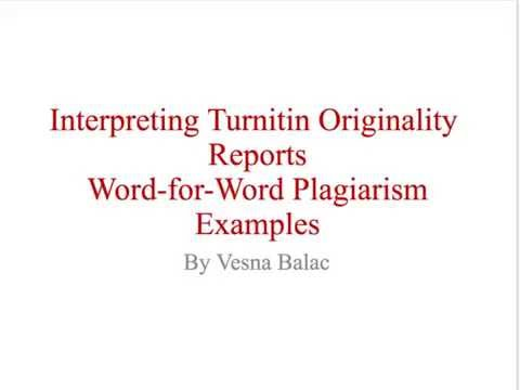 Turnitin Originality Reports Word-for-Word Plagiarism