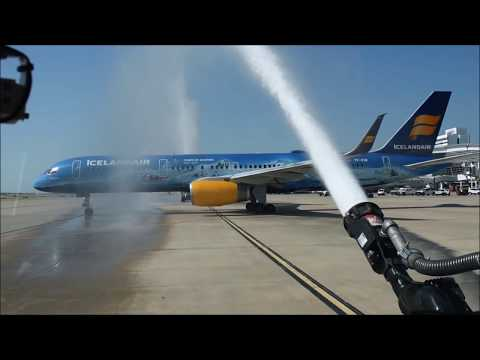 Icelandair Inaugural Festivities at DFW Airport || WATER CANNON, RAMP, INTERIOR, ETC.  #summeratdfw