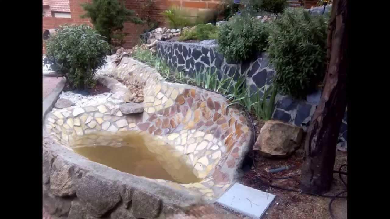 El artista manitas construcci n de fuente cascada y for Estanques artificiales construccion