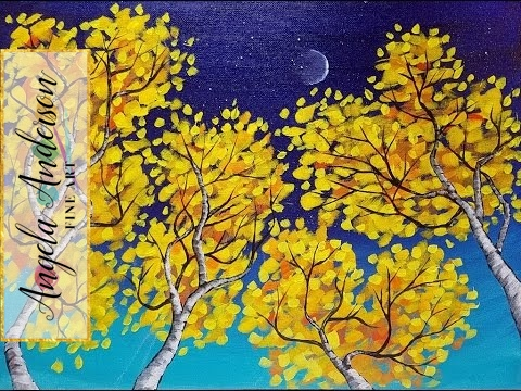 Birch Trees Simple Impressionist Beginner Landscape Acrylic Painting LIVE