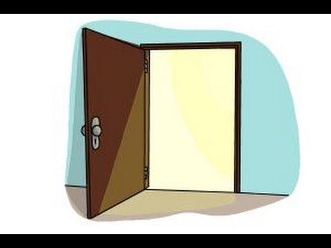 How to draw an open door - YouTube