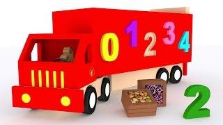 Números para niños en español. Aprender a contar del 1 al 10. Camiones dibujos animados para bebés