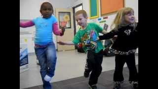 "silly kids love to dance, music is ""dancing robots"" from THE LEARNING STATION ""YOU CAN DANCE!""."