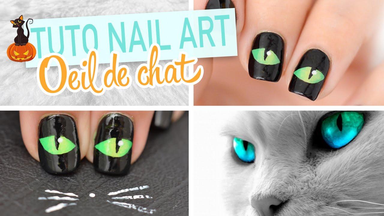 Nail art halloween oeil de chat youtube - Nail art chat ...