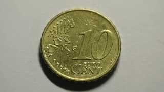 Монета 10 Евроцентов 2002 года выпуска