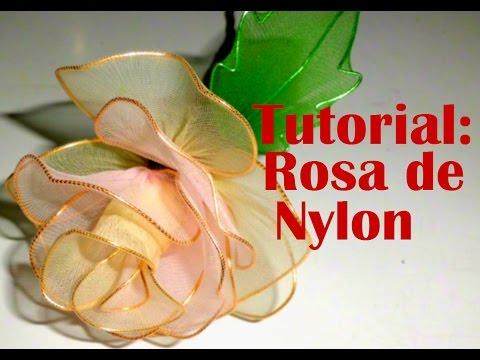 Tutorial Rosa de Nylon - How to make a nylon flower: Rose