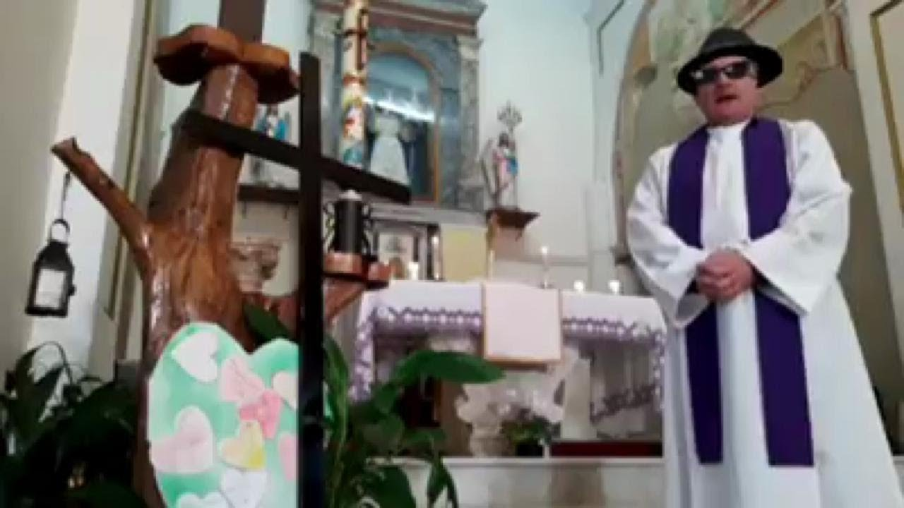 Too good! This poor Italian priest forgot to turn off his filters before live Mass ...