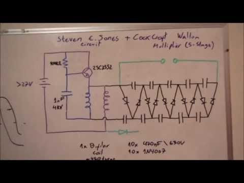 Steven E. Jones Circuit + CockCroft Walton Multiplier = High Voltage DC