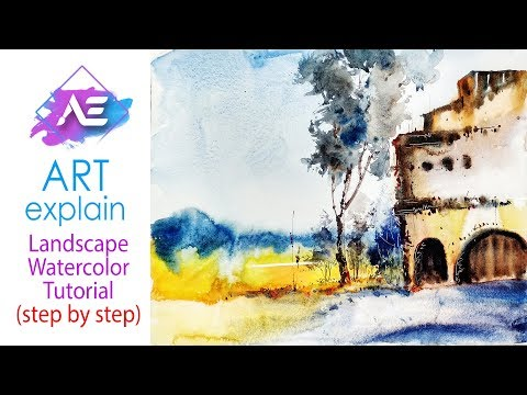 Old Building watercolor landscape painting  | How to paint a watercolor landscape | Art Explain
