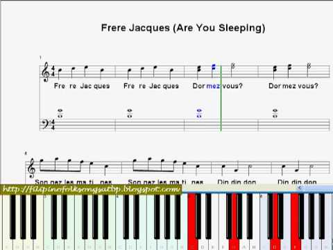 Nursery Rhyme Frere Jacques Are You Sleeping Piano Sheet Music