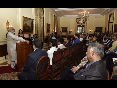 "PM Modi released the book "" President Pranab Mukherjee - A statesman "" at Rashtrapati Bhavan"