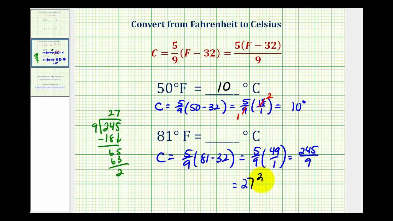 Ex Convert Temperature From Fahrenheit To Celsius