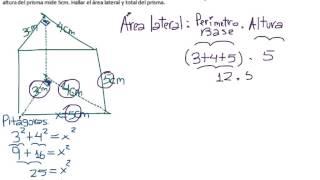 Prisma triangular, área lateral, área total