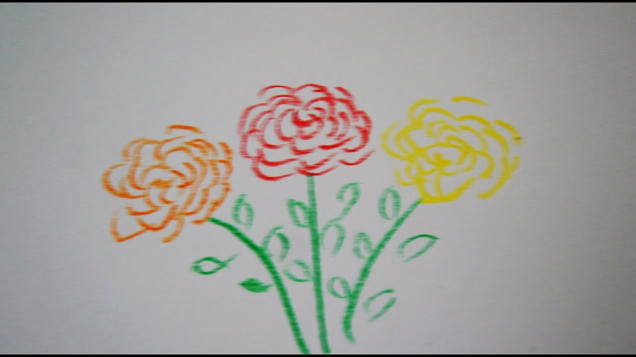 blumen einfach zeichnen how to draw roses flower drawing youtube. Black Bedroom Furniture Sets. Home Design Ideas
