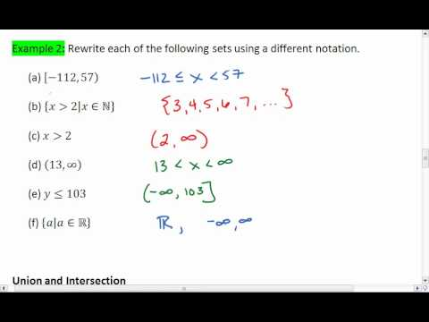 12 4 Of 5 Interval And Set Notation Union And Intersection Youtube