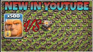 clash of clans 500 max geared up cannon vs max 500 giants attack in coc gameplay