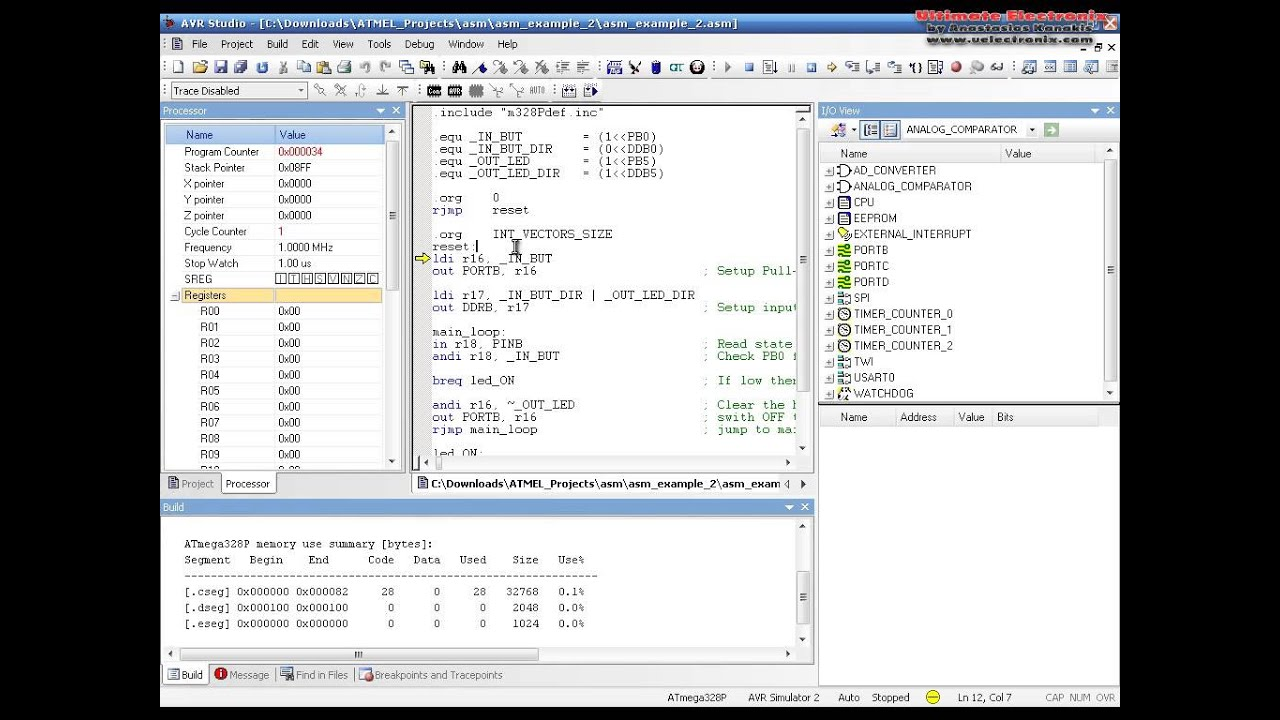 Embedded University Tutorial - No 6 - ASM Example and Intro to AVR  instructions