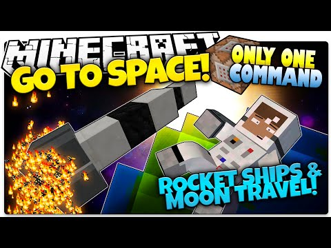 Minecraft | SPACE SHIPS! | Go To The Moon | No Mods | Only One Command (Minecraft Vanilla Mod)