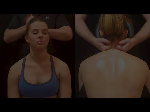 [ASMR] Deep Tissue Seated Massage for Crossfit Athlete [no Talking][ Dark setting perfect for sleep]