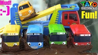 Toy Car WASH Playtime! TAYO the Little Bus Got Stuck in the MUD! Tayo Toy Bus. Kids