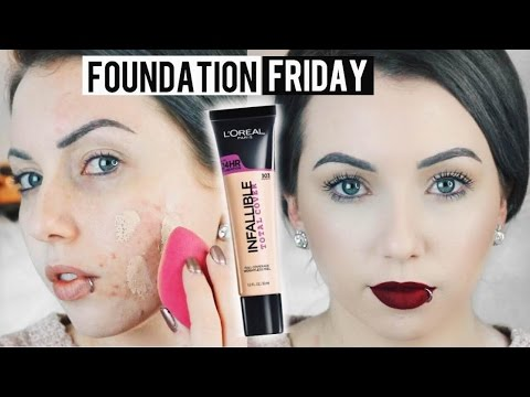 NEW L'OREAL INFALLIBLE TOTAL COVER FOUNDATION Acne/Pale Skin {First Impression Review & Demo!}