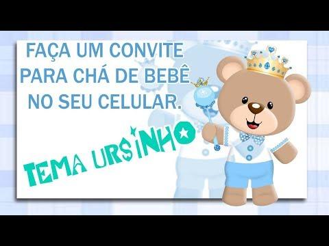 Como Fazer Um Convite Cha De Bebe No Celular Tema Ursinho Youtube