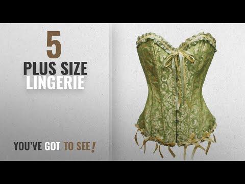 Zanuce Plus Size Lingerie [2018]: Zanuce Women's Sexy Satin Boned Lace Up Overbust Plus Size Corsets