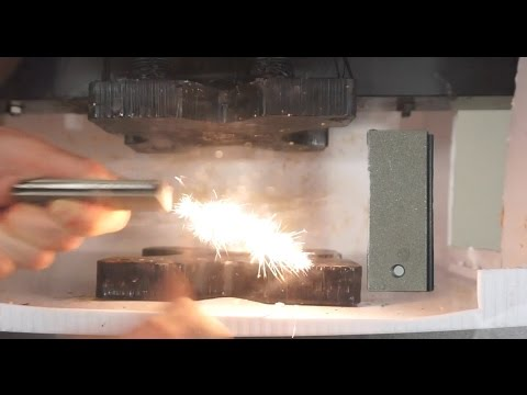 Flammable Magnesium Bar Crushed In Hydraulic Press | Bright White Magnesium Fire!