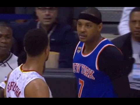 Carmelo Anthony Punches Thabo Sefolosha In The Neck Melo Ejected Hawks vs Knicks