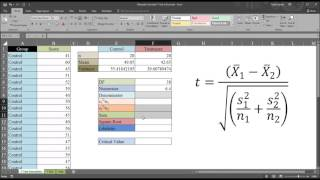 Manually Calculate Independent-Samples T Test in Excel