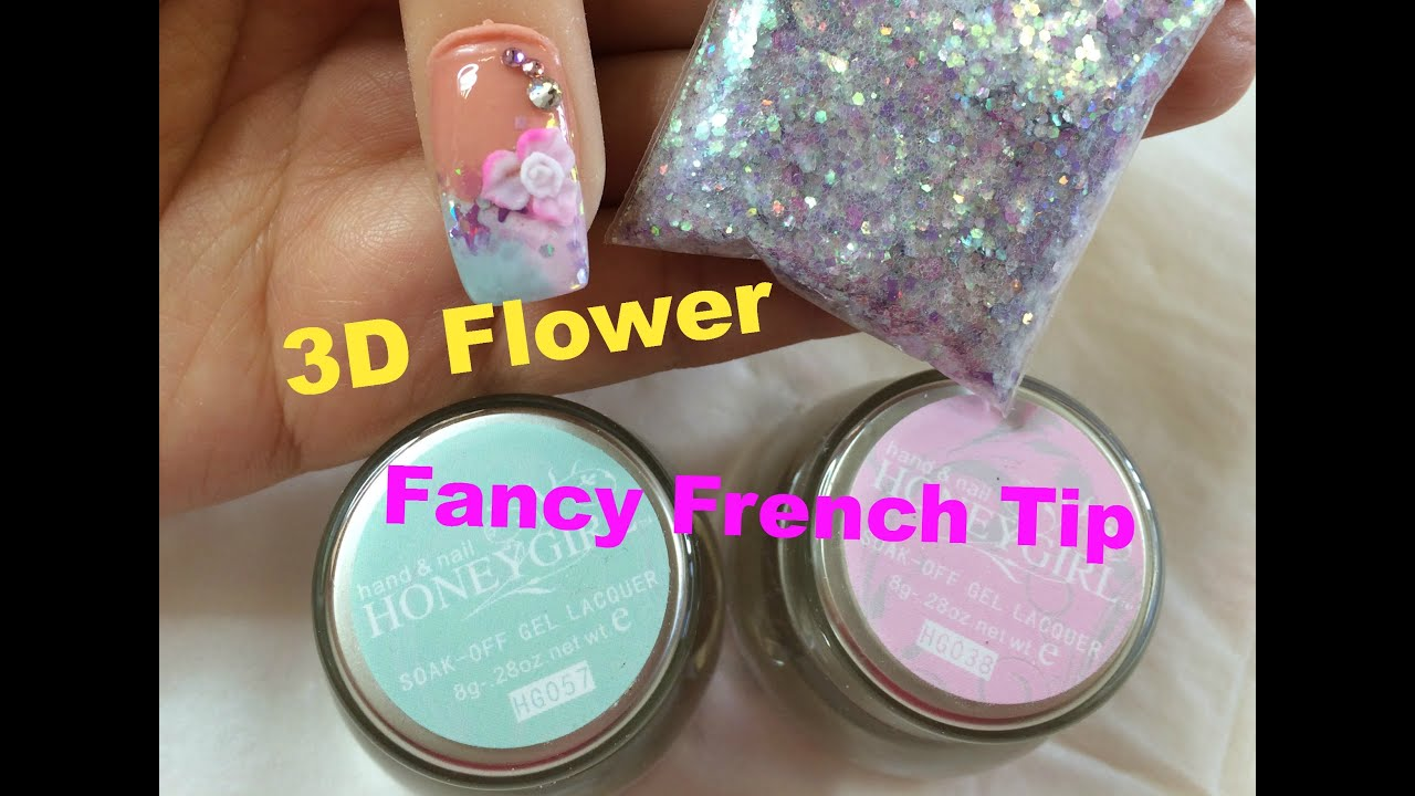 Fancy French Tip Gel Nail and Acrylic 3D Flower Nail Tutorial - YouTube
