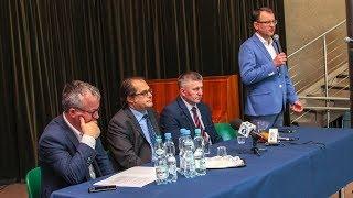 Prezydent Janusz Kotowski podczas spotkania z ministrem Markiem Gróbarczykiem