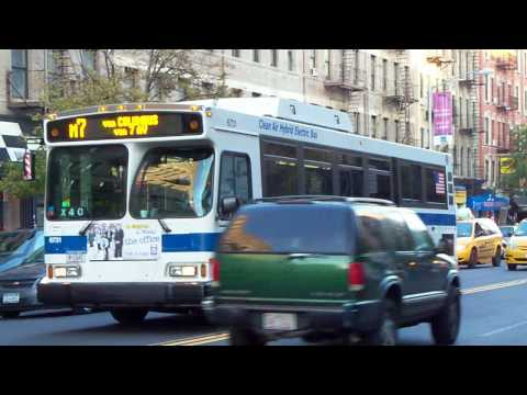 Manhattan Bus Action: M2, M7, M18 and M116 at 7th Avenue- W116th Street [HD]