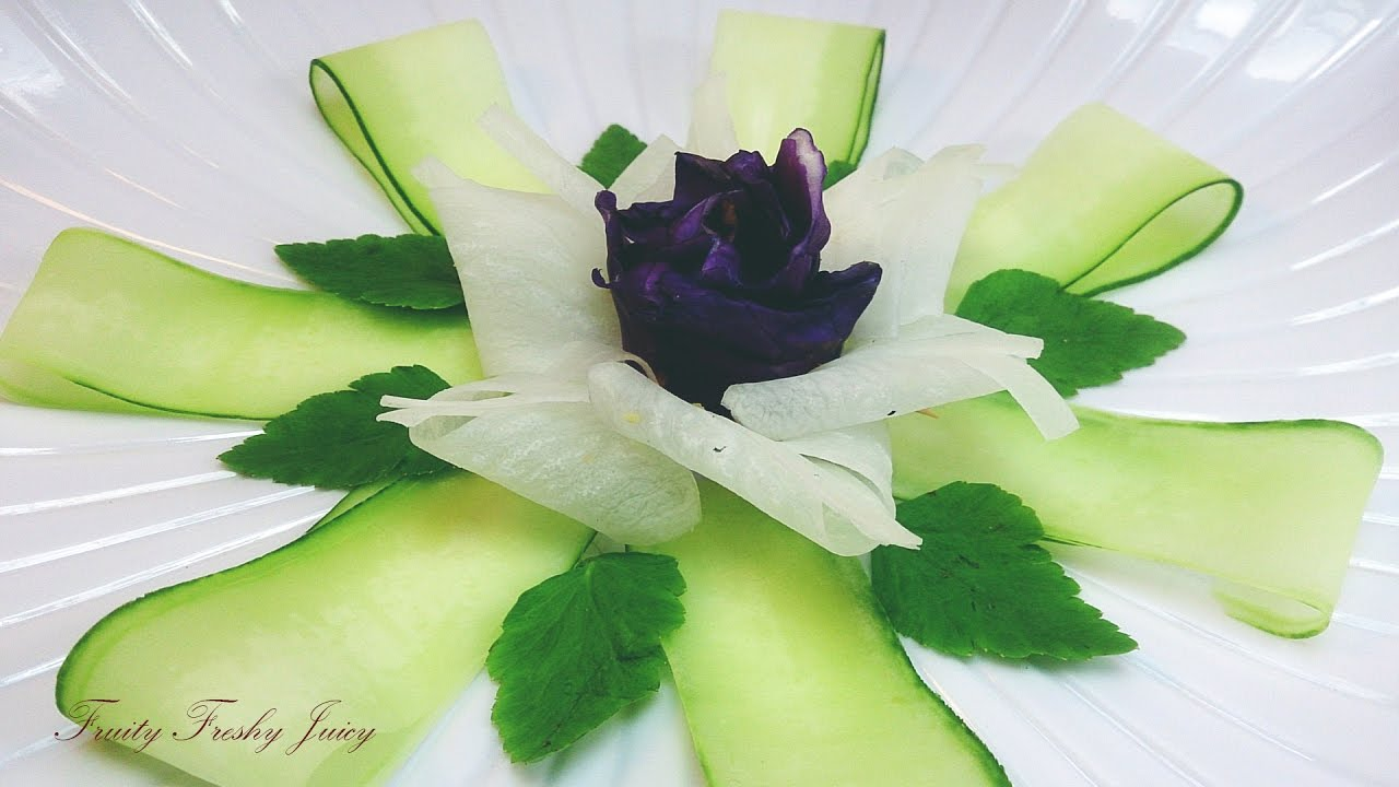 Art In Vegetable Rose Design Garnish - How To Make Cucumber, Radish & Cabbage Flower