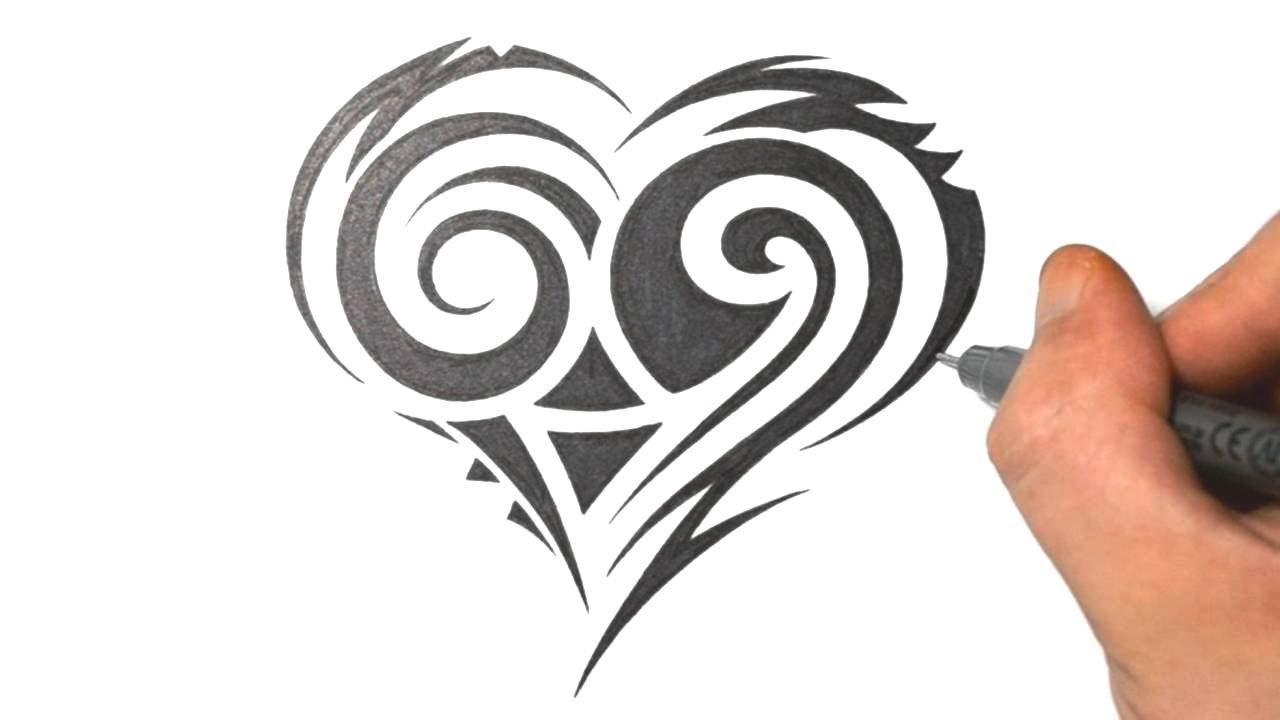 How To Draw A Cute Tribal Heart Tattoo Design Youtube
