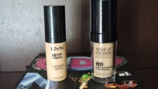 NYX HD Studio Photogenic Foundation vs. Makeup For Ever HD Foundation (Review & Demo)