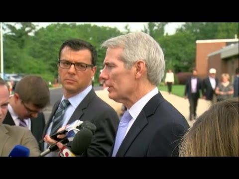 Rob Portman speaks to media at Otto Warmbier