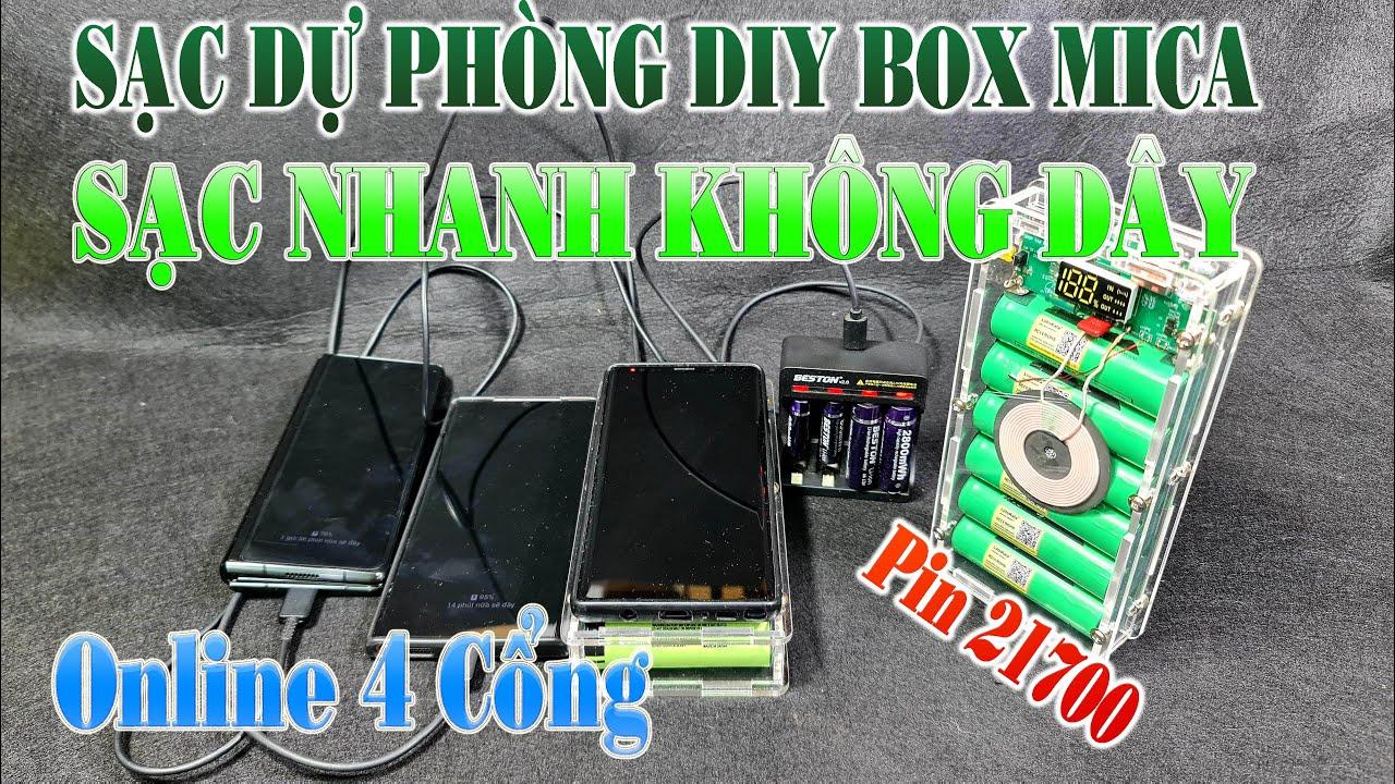 Ráp Box Sac Dự Phòng DIY Mica Type-C Sạc Nhanh Không Dây QC3.0, Online 4 Cổng