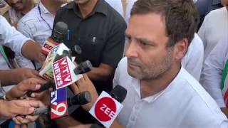 Congress President Rahul Gandhi addresses media in Gandhinagar, Gujarat