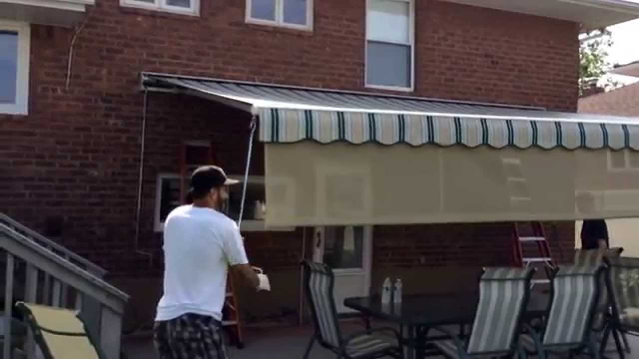 Retractable awning with drop screen !! - YouTube