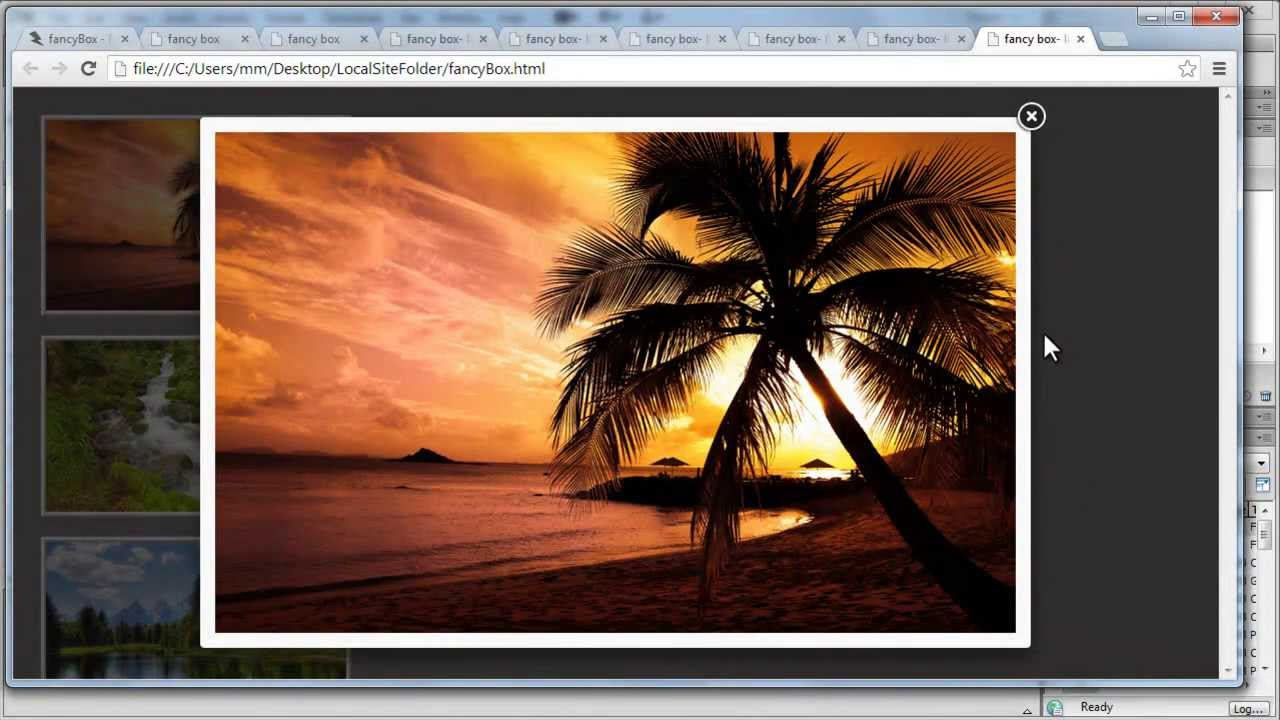 Dreamweaver Tutorial | FancyBox JQuery Plugin Gallery- A ...