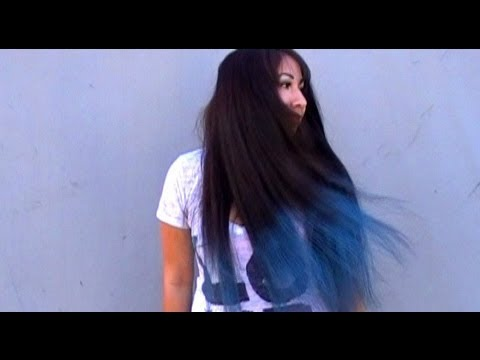 how to dip dyed ombre blue hair chalking tutorial temporary color black hair no bleach youtube