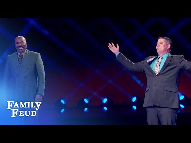 Steve Harvey loves Justin's brilliant answer! | Family Feud