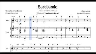 Sarabande Easy Notes and Piano Duet Sheet Music for Flute Violin Recorder Oboe