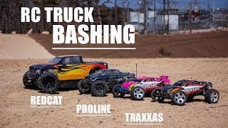 This Was Fun! - RC Truck Bashing - Proline Pro-MT 4x4, Fifth Scale MT & Traxxas Rustler's