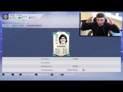 FIFA 19  MY BEST *EVER* ICON SNIPE 🤑 MIN PRICE 95 RATED MARADONA MISS 😱 ICON SNIPING